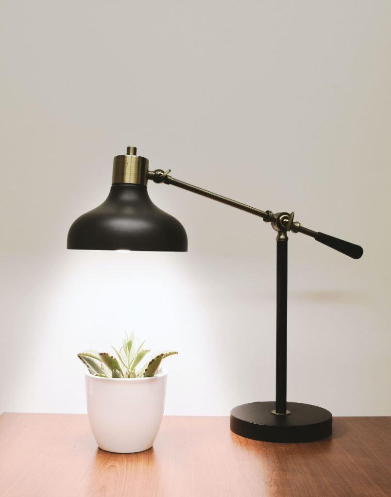black metal lamp